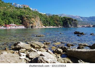 View of Mogren 1 and Mogren 2   beaches Montenegro Budva