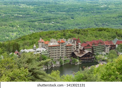 A view of Mohonk Mountain House from the Skytop Tower.