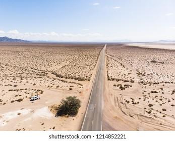 View of Mojave Desert panorama, an arid rain-shadow desert and the driest desert in North America, California, United States of America