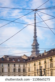 View of the Mole Antonelliana, the main landmark of Turin, from Piazza Vittorio Veneto (Vittorio Veneto Square), one of the most elegant square in the town.