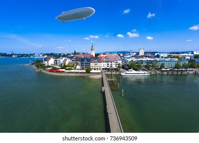 View from the mole tower over Friedrichshafen at Lake Constance with Zeppelin - Friedrichshafen, Lake Constance, Baden-Wuerttemberg, Germany, Europe