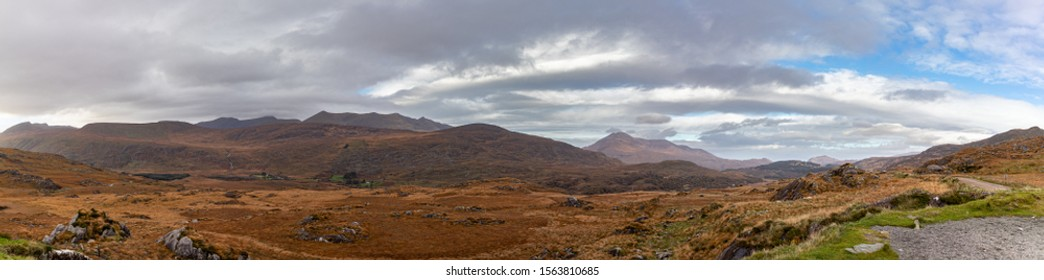 View from Molls Gap,Moll's Gap is on the Ring of Kerry route and offers views of the MacGillycuddy's Reeks mountains, and is a popular tourist location.