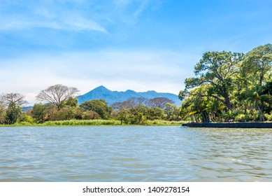 View at the Mombacho volcano from Lake Nicaragua