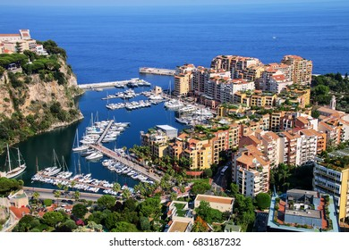 View of Monaco City and Fontvieille with boat marina in Monaco.  Monaco City and Fontvieille are two of the four traditional quarters of Monaco.