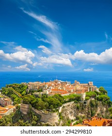 View of Monaco with Prince's Palace and Oceanographic Museum. French riviera. Mediterranean Sea landscape with beautiful blue sky