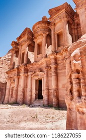 A view of The Monastery (Ad-Deir) of Petra as seen from the side.