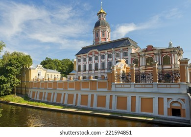 view of the monastery and Alexander Nevsky Lavra from river Monastyrka, Saint Petersburg, Russia