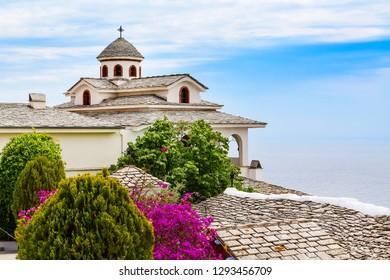 View of Monastery of Archangel Michael, Thassos island, Greece