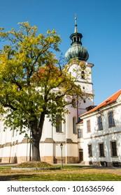 View of Monastery in Autumn, Benedictine abbey in Prague - district Brevnov, Czech Republic