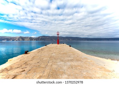 View from the Monastery in Glavotok port , Krk Island , Croatia