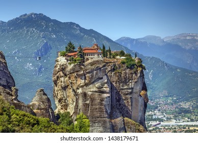 View of Monastery of the Holy Trinity om rock in Meteora, Greece