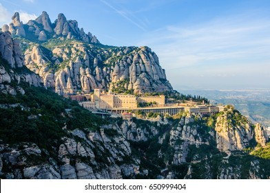 View of the monastery in Montserrat Mountain, Catalonia, Spain