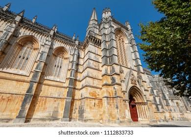 View of the monastery Santa Maria da Vitoria in Batalha. Central Portugal, Europe