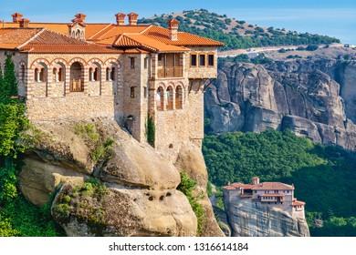 View Monastery of Varlaam and Roussanou (Agias Varvaras) in Meteora. Thessaly, Greece
