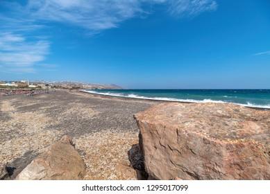 View of Monolithos beach - Aegean sea - Santorini island - Greece