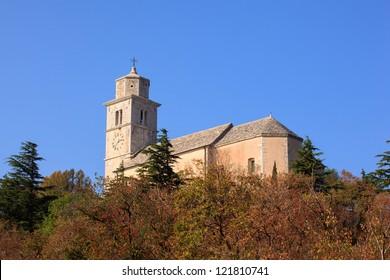 View of the Monrupino Church in Monrupino near Trieste, Italy