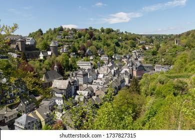 View of Monschau and Castle Monschau, Germany