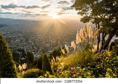 View from Monserrat over Bogota at sunset