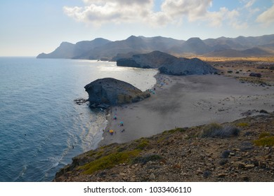 View of Monsul beach in the andalusian desert coast of the Cabo de Gata Níjar Natural Park, Almeria, Andalusia, Spain