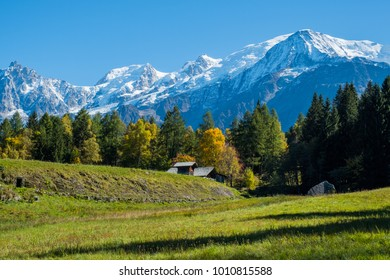 View of Mont Blanc from Charousse, Chamonix, France
