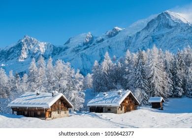 View of Mont Blanc from Charousse village, Chamonix, France