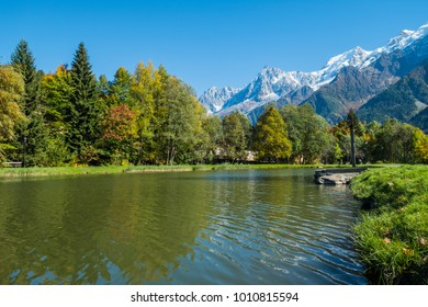 View of Mont Blanc from lake of Chavants, Chamonix, France