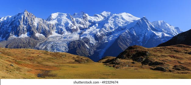 View at the Mont Blanc mountain range from col de Bel Lachat. With Mont Blanc and Auguille du Midi.
