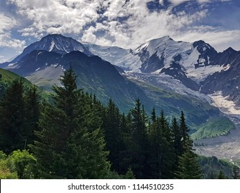 View of Mont Blanc from the Mont Blanc Tramway, Bellevue, Haut Savoye, France
