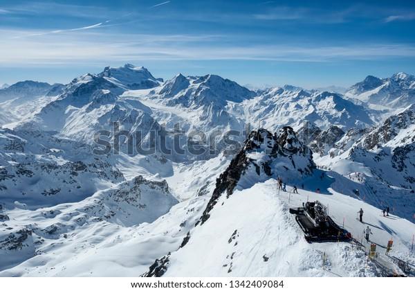 View from Mont Fort at 3.330 meter overlooking Verbier ski resort in Switzerland.
