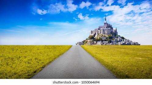 view of Mont Saint Michel abbey