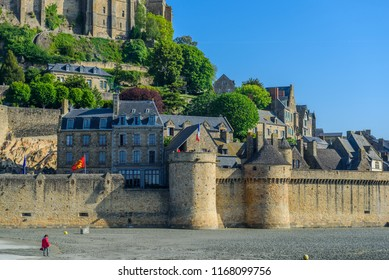 View of Mont Saint Michel, Normandy, France. Copy space for text