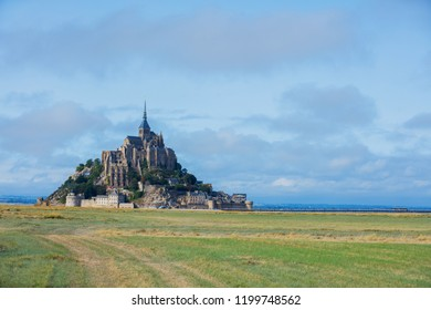 View of the Mont Saint Michel, Normandy France. Aerial drone bird's eye view photo.