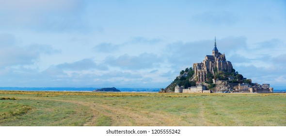View of the Mont Saint Michel, Normandy France. Aerial drone bird's eye view photo. Panorama