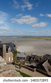 View of Mont Saint-Michel bay at low tide from its ramparts