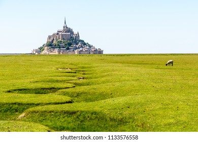 View of the Mont Saint-Michel tidal island, situated in France on the limit between Normandy and Brittany, with the dry bed of a stream snaking in the salt meadow in the foreground.