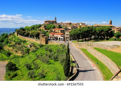 View of Montalcino town from the Fortress in Val d'Orcia, Tuscany, Italy. The town takes its name from a variety of oak tree that once covered the terrain.