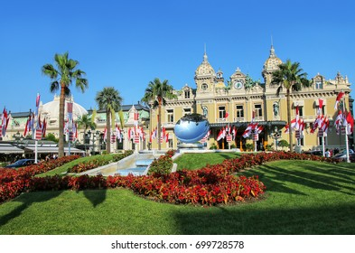 View of Monte Carlo Casino with garden in Monaco. Monte Carlo Casino is a gambling and entertainment complex.