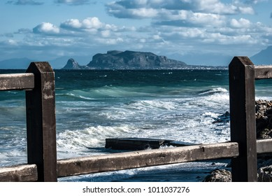 view of monte pellegrino from the nature reserve of capogallo, Palermo, Sicily, Italy