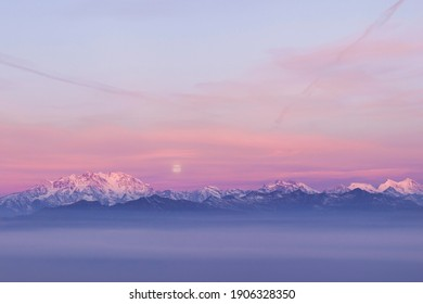 View of Monte Rosa from Mottarone at sunrise.