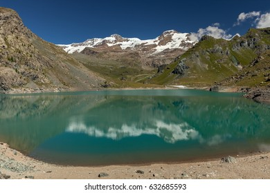 View to Monte Rosa mount and Gabiet Lake. Italian Alps