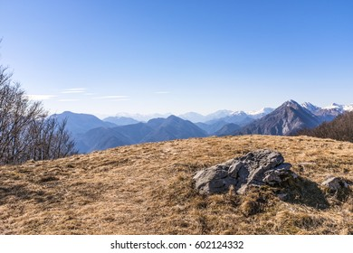 View from Monte San Simeone in Friuli-Venezia Giulia to Julian Alps in Slowenia