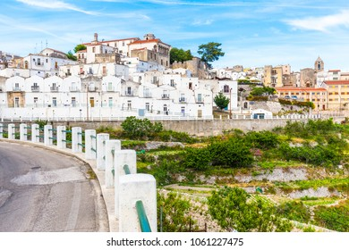 View of Monte Sant'Angelo town,  old village, in Apulia region, Italy.