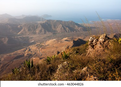 View from the Monte Verde mountain near Town of Mindelo, Sao Vicente Island of Cape Verde