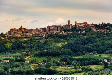 View to Montepulciano in the region of Siena, Italy
