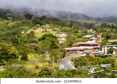 View of Monteverde and Santa Elena towns in a popular tourist destination in Costa Rica. They are located near famous cloud and rain forest.
