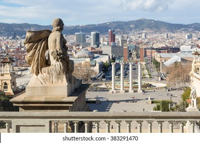 View from Montjuic to Plaza de Espana including the four columns and the venetian towers in Barcelona, Spain