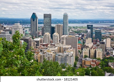 View of Montreal City from the top of Mount Royal, Quebec, Canada