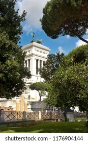 view of the monument to the first king of united Italy Victor Emmanuel II (Vittoriano), better known as the Altar of the Fatherland ( Altare della Patria ), Rome, Italy