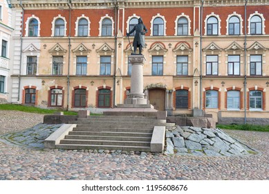View of the monument to the founder of the Vyborg castle to the Swedish marshal Torgils Knutsson - the first monument of Vyborg. Leningrad region, Russia
