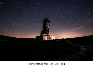 View of Monument to pilgrims on the Camino de Santiago,Lugo